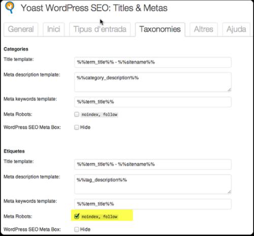 5 Taxonomies wordpress seo