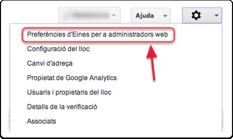 Opcions Tauler de Google Webmaster Tools