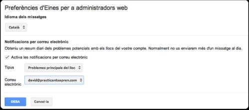 Preferencies d'avís de Google Webmaster Tools