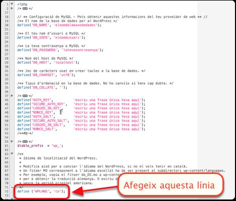 Com traduir un tema al catala_wp-config