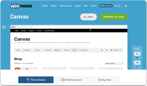 Canvas woothemes