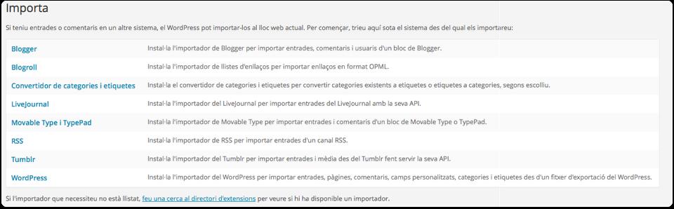 eines wordpress importa