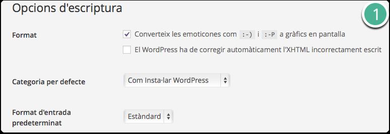 opcions d'escriptura wordpress