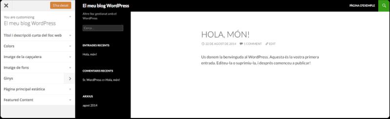 personalitza el tema wordpress per defecte
