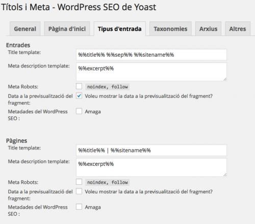 wordpress SEO Yoast entrades