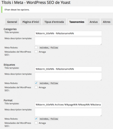 wordpress SEO Yoast taxonomies