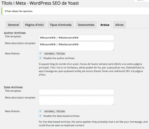 wordpress SEO Yoast arxius