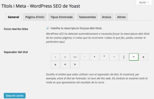 Wordpress SEO-Yoast els títols