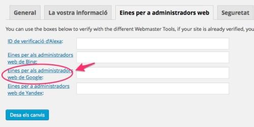 yoast verifica eines web