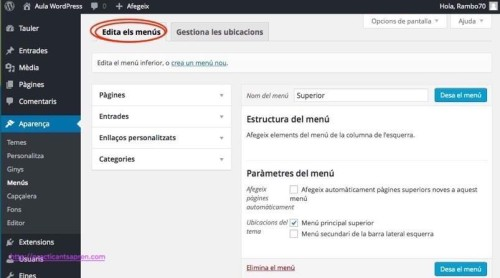 Personalitzant temes wordpress: els menús de navegació