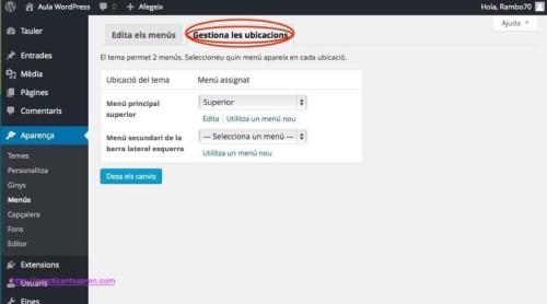 personalitzant els menús wordpress: menús de navegació